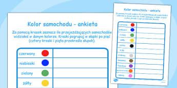 Ankieta Kolor samochodu po polsku - do pobrania, szkoła , Polish