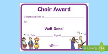 Choir Award Certificate - singing, club, music, after school club, young voices