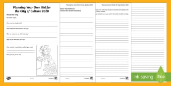 Hull City of Culture Planning Your Own Bid for City of Culture 2020 Activity Sheets - Hull City of Culture 2017, locality, my area, city, contrasting locality, speaking and listening, sp