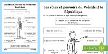 Feuille d'activités : Le Président de la République - élection, election, élection présidentielle, Presidential election,  Président de la République