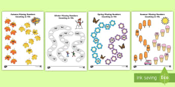 Seasons Path Missing Numbers Counting in 10s Activity Pack - Winter, worksheet, maths, counting, counting in 10s, number recognition, activity sheet, spring, sum