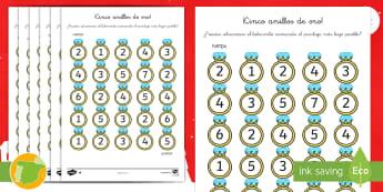 Fichas de actividad: Cinco anillos de oro - Navidad, natividad, santa Claus, papá Noel, festividad, fiesta, suma, sumar, adición, adicionar, m