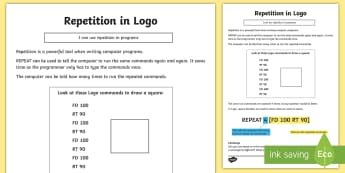 Repetition in Logo Activity Sheet - computing, programming, program, coding, algorithm, instructions. repetition, logo, turtle