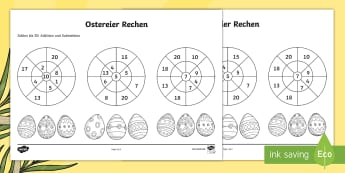 Ostereier Addition und Subtraktion Mathe Profi- Aufgaben - spring, easter, egg, maths, counting, addition, subtraction, Frühling, Ostern, Ei, Mathe, rechnen,