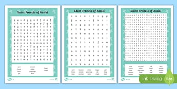 Saint Francis of Assisi Word Search
