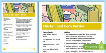 Chicken and Corn Patties Recipe - cooking, recipe, autumn, eyfs, early years, chicken, corn, patties