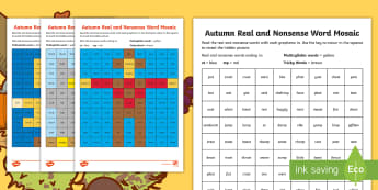 Autumn Phase 4 Phonics Mosaic Activity Sheets - decode, nonsense, phonemes, read, fluency, Worksheets
