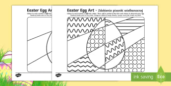 Easter Egg Art Activity Sheet English/Polish - easter, easter eggs, colouring,EAL,Polish-translation