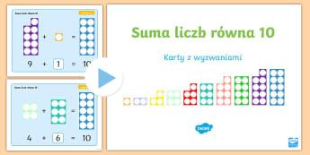 Suma liczb równa 10 Prezentacja PowerPoint - prezentacja. multimedialna, internaktywna, numericon, klocki, z otworami, numicon, powerpoint, pp, m