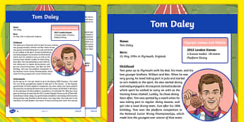 Great British Olympians Tom Daley Differentiated Fact File - information, research, different, varied, levelled, rio, 2016, olympics, olympians, diving, water, aquatics,