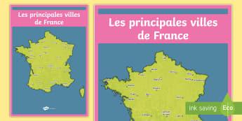 Poster format A2 : Les principales villes de France  - Cartes géographiques, map, cycle 2, cycle 3,  KS2, towns,cities, villes, France, poster, display, a