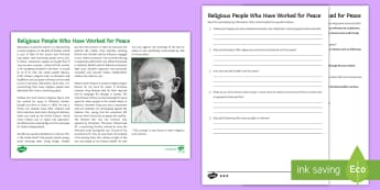 Religion, Peace and Conflict: Religious People Who Have Worked for Peace Differentiated Reading Comprehension  - Religion, Peace, Pacifism, gcse