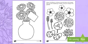 Fathers Day Flower Bouquet Colouring Activity - Fathers day