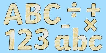 Light Themed Display Letters and Numbers Pack - light, display lettering, display, letter, number, Science lettering, Science display, Science display lettering