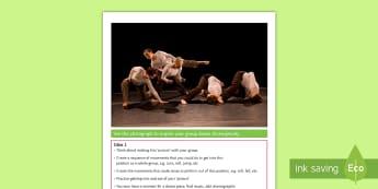 Choreography Activity Sheet - Dance, Toolbox, modern, photograph, improvisation, choreography, worksheet