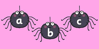A-Z Lowercase on Spiders - a-z, alphabet, spiders, images, letters, minibeast