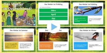 Weather in Germany PowerPoint German - Weather, Germany, German, Wetter, Deutschland, mfl, languages, ks2, vocabulary