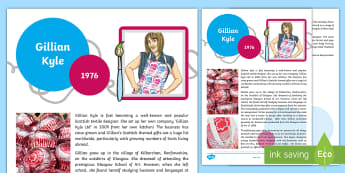 CfE (Second) Gillian Kyle Fact File - art, artist, designer, scottish, tunnocks art, textiles,Scottish