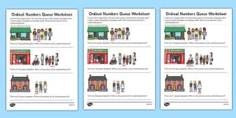 Ordinal Numbers Queue Worksheet - ordinal numbers, queue, worksheet