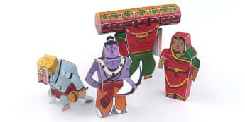 Diwali Paper Toy Character Set - festivals, paper craft, craft