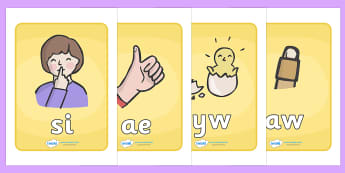Welsh Letter Blending Cards - phonics, welsh, Welsh, Phonics,  DfES Letters and Sounds, blending, cards, blending cards
