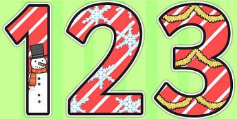 0-9 Display Numbers (Christmas) - Display numbers, 0-9, numbers, display numerals, display lettering, display numbers, display, cut out lettering, lettering for display, display numbers