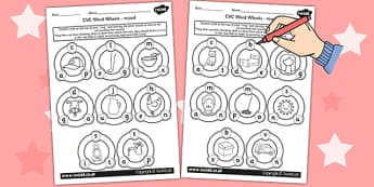 CVC Word Wheel Worksheets mixed - CVC words, wheel, visual aid
