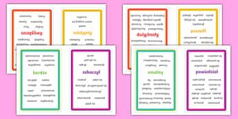 Karty z przydatnymi słowami