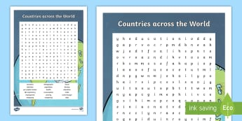 Countries across the World Word Search - ACHASSK139, Year 6, AC, Geography, vocabulary, word recognition, metalanguage, spelling,Australia