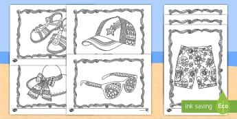 Sommerkleidung Anmalbilder - Sommerkleidung, Anmalbilder, Arbeitsblätter, Anmalen, Ausmalen, Malen, Sommer, Sommerferien, Sommer