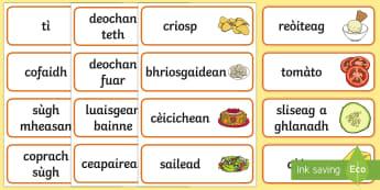 Café Word Cards Gaelic - cfe, curriculum for excellence, role play, gaelic, cafe, play, word cards, word, cards, aid