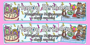 Birthdays Display Banners Polish Translation -Display banner, birthday, birthday poster, birthday display, months of the year, cake, balloons, happy birthday, ballon, months of the yearenglish, abnner, happy brithday, bithday