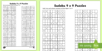 Sudoku 9 x 9 Activity Sheet  - Number Puzzle, Game, Sudoku, Activity, Puzzle