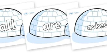 Tricky Words on Igloos - Tricky words, DfES Letters and Sounds, Letters and sounds, display, words