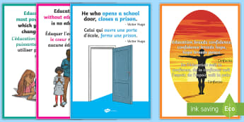 Educational Quotes Display Posters English/French - Educational Quotes Posters - educational, quotes, poster, display, EAL French,French-translation