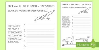 Ficha para ordenar el abecedario: Los dinosaurios - Dinosaurios, pre-historia, dinos, tiranosaurio, estegosaurio, triceratops, proyectos, aprendizaje ba