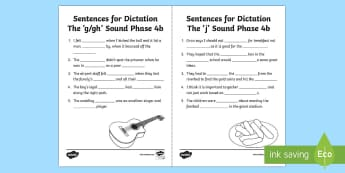 Northern Ireland Linguistic Phonics Stage 5 and 6, Phase 4b 'g' and 'j' Dictation Sentences Activity Sheets  - NI, missing word, cloze, words, 'g', 'j', sounds, phonics, Worksheets