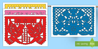 Day of the Dead Papel Picado Display Bunting - day of the dead, Dia de los muertos,  papel picado, paper bunting,