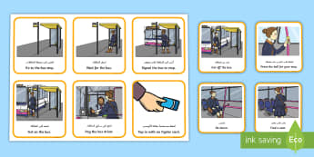 Catching a Bus Visual Support Picture Cards Arabic/English  - bus ride, bus visual support, catching a bus, planning a bus journey, visual timetable, EAL