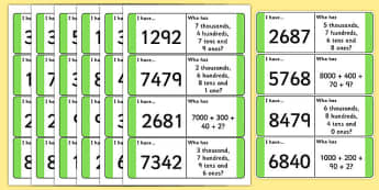 Place Value Loop Cards 4 Digits - place value, loop cards, digits