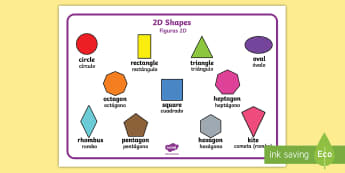 2D Shape Word Mat English/Spanish - 2D Shape Word Mat, Word mat, writing aid, 2D Shape names, Shape Flashcards, Shape Pictures, Shape Wo