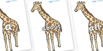 100 High Frequency Words on Giraffe - High frequency words, hfw, DfES Letters and Sounds, Letters and Sounds, display words