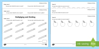 Colour Me In Multiplication and Division Activity Sheets - Year 1, Maths Mastery, multiplication, multiply, times, lots of, product, divide, division, share, e