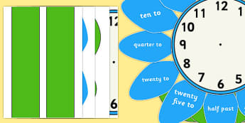 Analogue Clock Flower Labels Words - time, maths, classroom, visual aid, numeracy