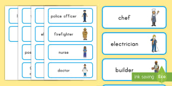 Labor Day Jobs Word Cards - community helpers, USA, career, work