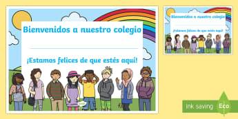 Diploma: Bienvenidos a nuestro colegio - bienvenidos, clase, colegio, nuevo, curso, vuelta al cole, diploma, ,Spanish