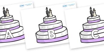 A-Z Alphabet on Wedding Cakes - A-Z, A4, display, Alphabet frieze, Display letters, Letter posters, A-Z letters, Alphabet flashcards