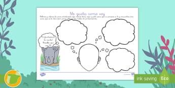 Ficha: Me gusta como soy - El rinoceronte Rafa - rinoceronte, Rafa, único, especial, valores, aceptar, aceptarse, aceptación, valorarse, apreciarse