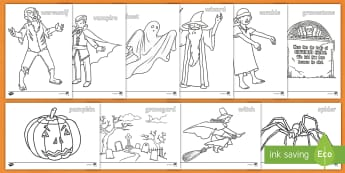 Extra Large Halloween Colouring Pages - witch, wizard, ghost, trick, treat,