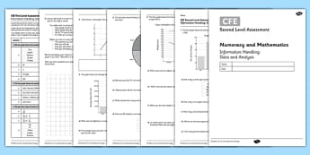 Second Level Assessment Numeracy and Mathematics Information Handling Data and Analysis - CfE, assessment, data handling, pie chart, line graph, bar chart, survey
